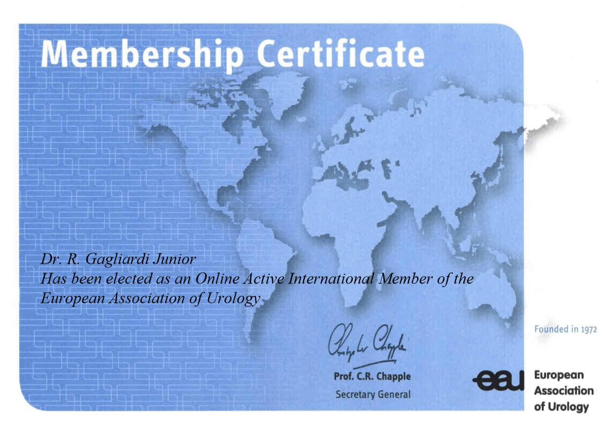 Certificado da European Association of Urology