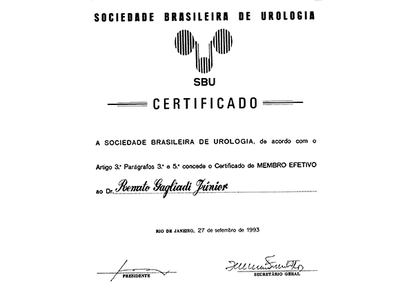 Certificado de membro do SBU